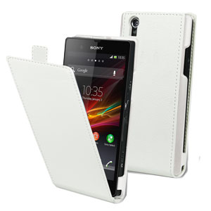 Slim Faux Leather Flip-Case for Sony Xperia Z - Black