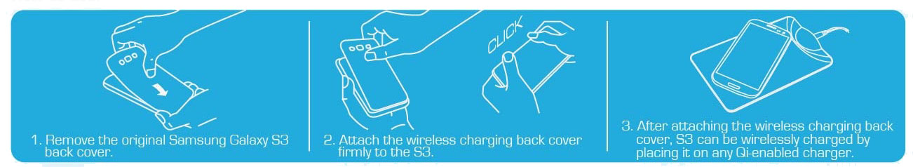 Samsung Galaxy S3 Qi Wireless Charging Plate Kit - Black / White