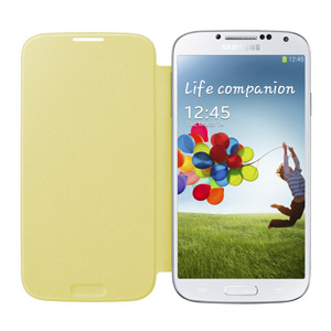 Genuine Samsung Galaxy S4 Flip Cover - Yellow - EF-FI950BYEGWW