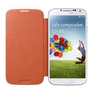 Genuine Samsung Galaxy S4 Flip Cover - Orange - EF-FI950BOEGWW