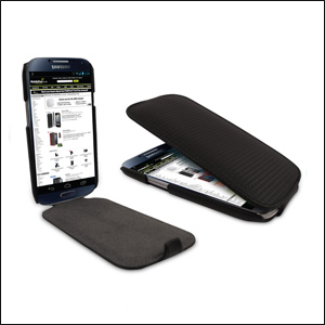 Slimline Carbon Fibre Style Flip Case for Samsung Galaxy S4