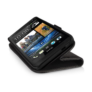 HTC One 2013 Leather Style Stand / Wallet Case - Black