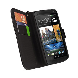 HTC One Leather Style Stand / Wallet Case - Black