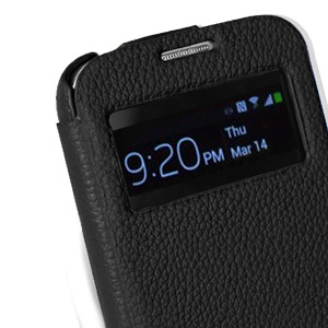 Melkco Leather Face Cover  Case for Samsung Galaxy S4 - Blue