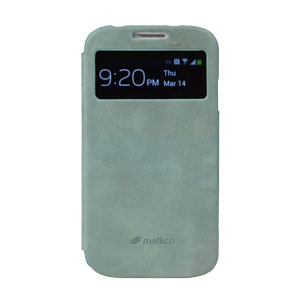 Melkco Leather Face Cover Vintage for Samsung Galaxy S4 - Lake Blue