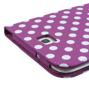 Adarga Folio Stand Samsung Galaxy Note 8.0 Case - Purple Polka Dot
