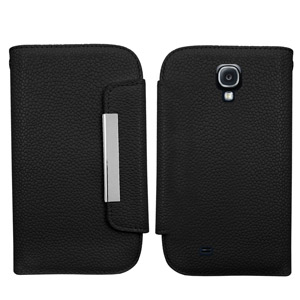 Leather Style Wallet Case for Samsung Galaxy S4 - Black