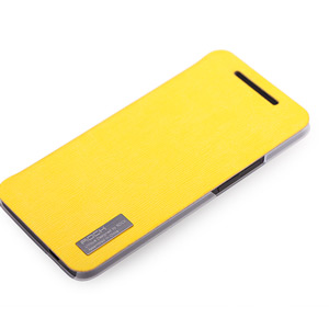 Rock Elegant Side Flip Case For HTC One - Lemon Yellow
