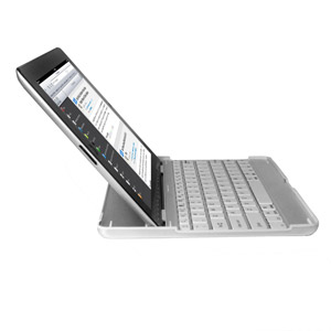 Aluminium Bluetooth Keyboard Stand For Apple iPad 4 / 3 / 2 - White