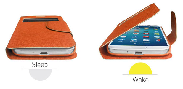 Leather Style Sneak Peak Flip Case for Samsung Galaxy S4 - Orange
