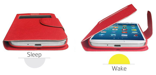 Leather Style Sneak Peak Flip Case for Samsung Galaxy S4 - Red