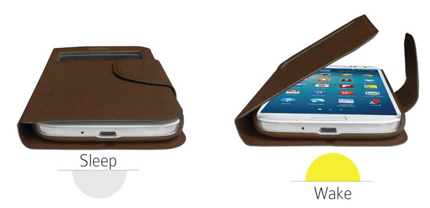 Leather Style Sneak Peak Flip Case for Samsung Galaxy S4 - Brown