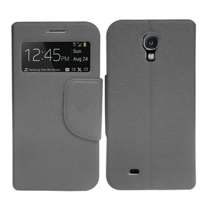 Leather Style Sneak Peak Flip Case for Samsung Galaxy S4 - Grey