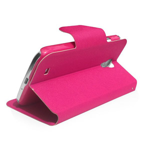 Leather Style Sneak Peak Flip Case for Samsung Galaxy S4 - Pink