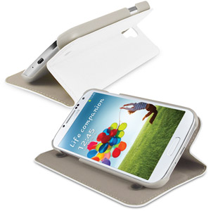 Samsung Galaxy S4 Leather Style Stand Case - White
