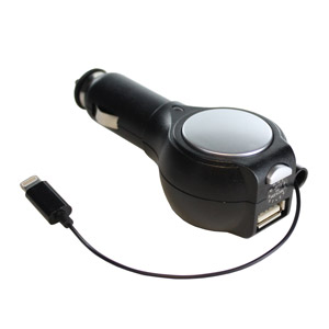 retractable lightning iphone 6 5 series car charger with usb port
