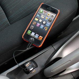 Retractable Lightning Car Charger with USB Port for iPhone 5