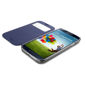 Spigen Galaxy S4 Ultra Flip View Case - Metallic Navy