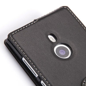 PDair Leather Flip Case for Nokia Lumia 925 - Black