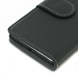 PDair Leather Book Case for Sony Xperia L - Black