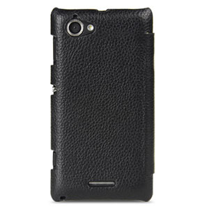 Melkco Premium Leather Flip Case for Xperia L - Black