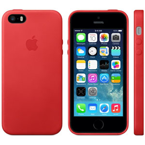 Official Apple iPhone 5S / 5 Leather Case - Red