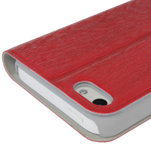 Grainz Wood Grain Folio Case For Apple iPhone 5C - Coral