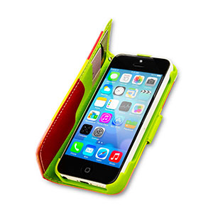 iPhone 5C Leather Style Stripe Wallet Stand Case - Red / Pink / Yellow