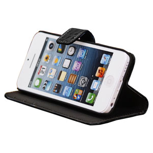 Wallet and Stand Case for Apple iPhone 5C - Black