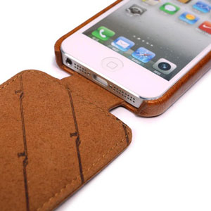 Tuff-Luv Leather In-Genuis Flip for iPhone 5C - Brown