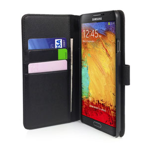 Orzly Leather Style Wallet Case for Samsung Galaxy Note 3  - Black