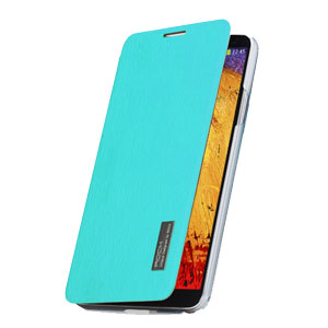 ROCK Elegant Side Flip Case for Samsung Galaxy Note 3 - Azure Blue