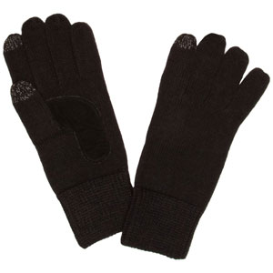 Totes Womens 2 Finger SmarTouch Gloves - Black