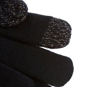 Totes Mens 2 Finger SmarTouch Gloves - Black