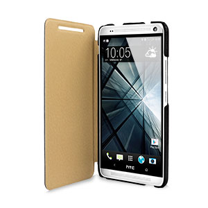 Leather Style Flip Case for HTC One Max - Black