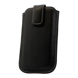 Leather Style Pouch Case for Nokia Asha 300 - Black