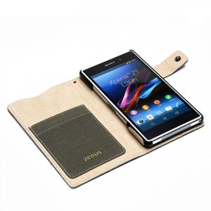 Zenus Diary Stand Case for Xperia Z1 - Khaki