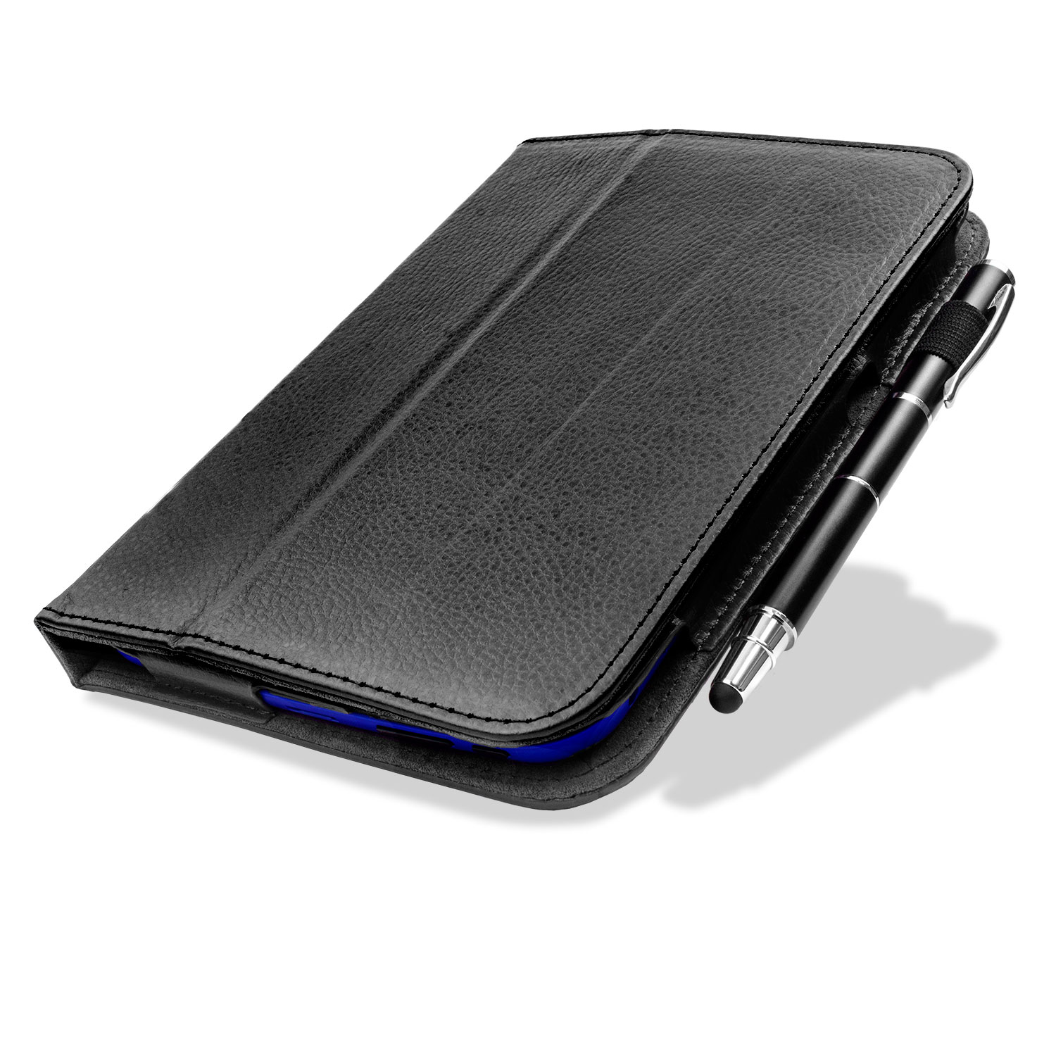 Folio Leather Case with Stand and Hand Grip for Tesco Hudl - Black