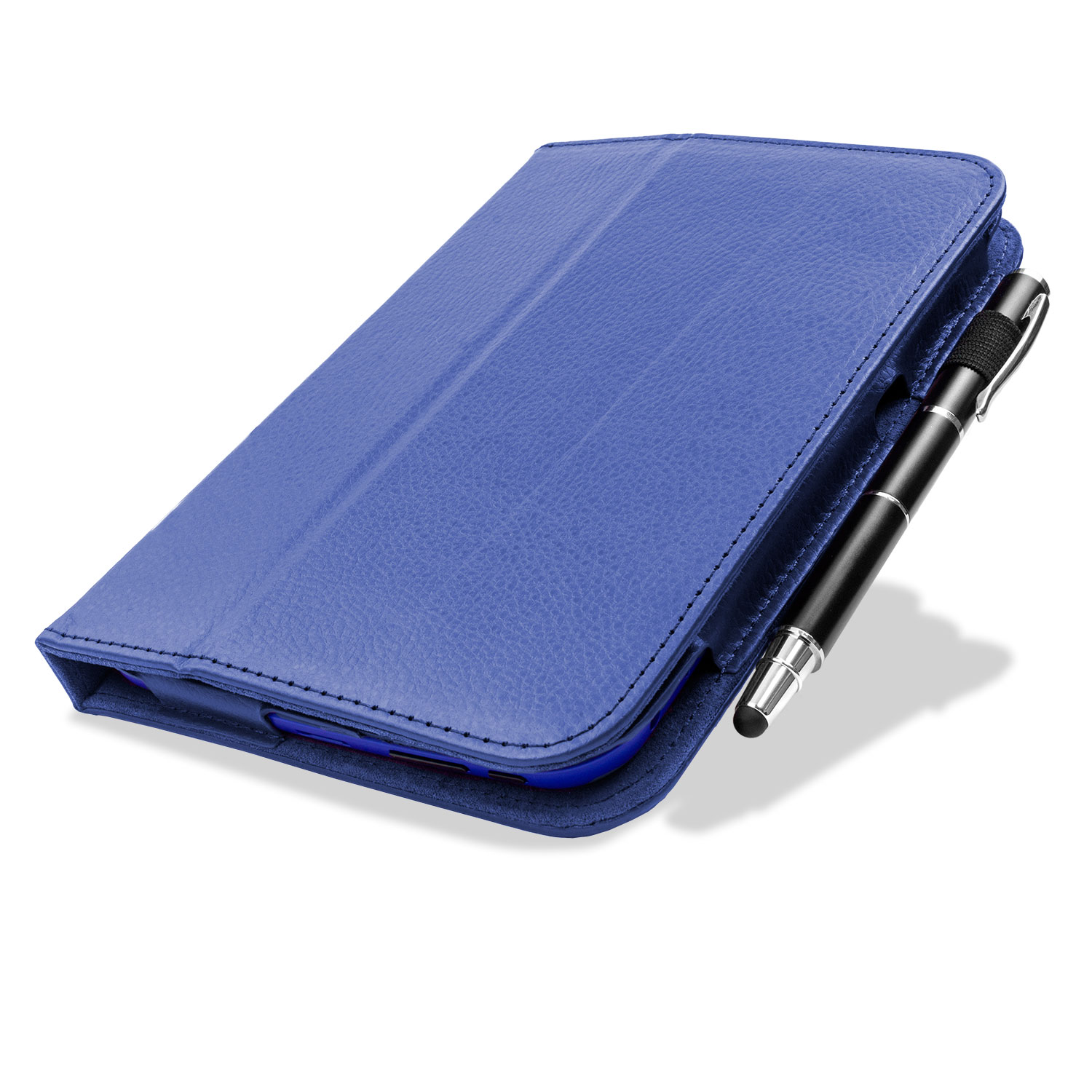Folio stand leather case with hand grap for Tesco Hudl - Blue
