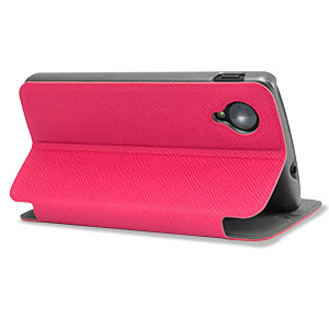 Leather Style Wallet Stand Case For Google Nexus 5 - Purple