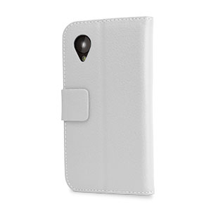 Leather Style Wallet Stand Case for Google Nexus 5 - White