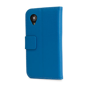 Leather Style Wallet Stand Case For Google Nexus 5 - Blue