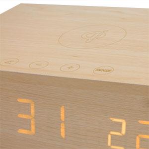 Qi Wireless Charging Alarm Clock with Bluetooth Speaker - Light Wood