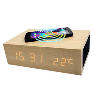 Qi-Tone Alarm Clock Bluetooth Speaker - Light Wood