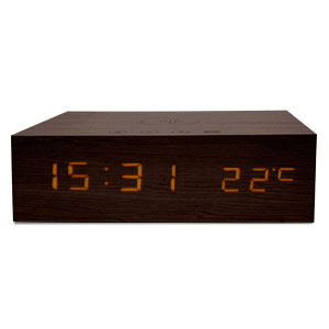Qi-Tone Alarm Clock Bluetooth Speaker - Dark Wood