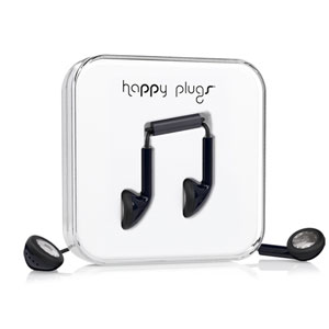 Happy Plugs EarBud Earphones with Hands Free Microphone - Black