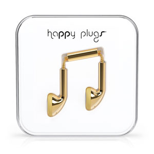 Happy Plugs EarBud Earphones with Hands Free Microphone - Gold