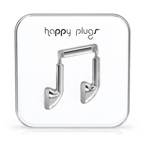 Happy Plugs EarBud Earphones with Hands Free Microphone - Silver