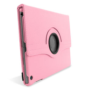 Rotating Leather Style Stand Case for iPad Air - Pink
