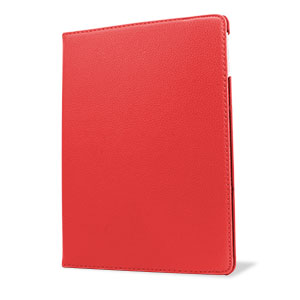 Rotating Leather Style Stand Case for iPad Air - Red